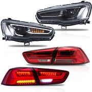 Free Shipping To Pr For 08-17 Lancer All Black Headlights+red Clear Taillights