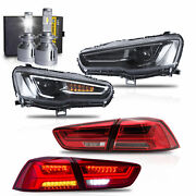 All Black Headlights+red Clear Taillights+h7 Led Bulbs For 08-17 Lancer