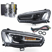 Free Shipping To Pr For 08-17 Lancer All Black Headlights W/sequential+h7 Bulbs