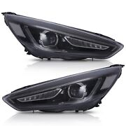 Led Headlights W/drl Sequential Turn Dual Beam+h7 Led Bulbs For 15-18 Ford Focus