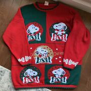 Vintage Snoopy And Friends Ugly Christmas Sweater Pullover Red Peanuts Size Large