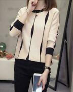 Knitting Womenand039s Round Collar Sweater Loose Tops Pullover Formal Slim Fit Enjoy