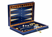 Backgammon Checkers Complete Set Olive Wood Sorrento I With Lock Key