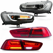 Free Shipping To Pr For 2008-2017 Lancer Headlights+red Smoked Taillights