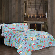 Twin Full/queen Or King Rv Camper Quilt Bedding Set Trees Bikes Blue Green Red