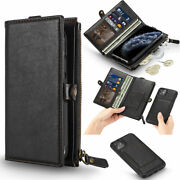 Leather Zip Coin Purse Card Wallet Flip Case Phone Cover For Iphone 11 Xr Xs Max