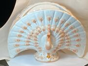 Peacock Planter Vase Vintage Italy Ceramic Coral And White Nora Fenton Numbered