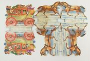 3 Vintage Rust Craft Coach Double Sided Pop-up Display Style Christmas Cards