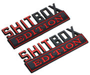 2x New Big Shitbox Edition Emblems Chrome Badges 3d Nameplate For Truck Red Bk