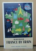 Org Vintage French Travel Poster - Discover France By Train 1954 Luc Marie Bayle