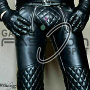 Menand039s Real Cowhide Leather Bluf Pants Bikers Kink Punk Kink Jeans Trousers