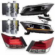 Led Headlights+red Taillights+vland H7+d2s Led Bulbs For 08-12 Honda Accord
