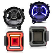 Free Shipping To Pr For 18-20 Jeep Wrangler Led Headlights+ Smoekd Taillights