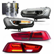 Free Shipping To Pr For 08-17 Lancer Headlights+red Smoke Taillights+h7 Bulbs