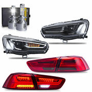Free Shipping To Pr For Lancer All Black Headlights+red Smoke Taillight+h7 Bulbs