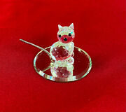 Miniature Crystal Kitten With Metal Tail And Round Mirror Platform