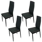 Dining Side Chairs Pu Leather Modern Furniture Design Black New Set Of 4