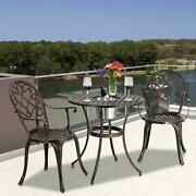3pc Patio Bistro Furniture Set Outdoor Garden Dinner Dining Iron And Table Chair