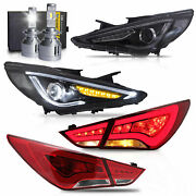 Free Shipping To Pr For 11-14 Sonata Headlights+taillights+h7 Bulbs