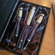 Charles Dickens Fountain And Ballpoint Pen And Pencil Set Box + Black Ink