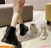 Womenand039s Faux Leather Ankle Boots Lace Up Shoes Round Toe Britain Fur Lining Chic