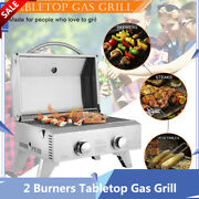 Tabletop Gas Grill Stainless Steel 2 Burners Bbq Grid Outdoor Camping Picnic New