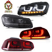 Led Headlights + Red Clear Tail Lights For 10-13 Golf Mk6 12-13 Golf R