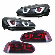 Free Shipping To Pr For 12-13 Golf Mk6 R Headlights Demon+red Smoke Taillights