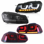 Free Shipping To Pr For 10-13 Golf Mk6 12-13 R Headlights+red Smoke Taillights