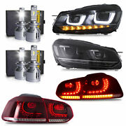Free Shipping To Pr For 10-13 Golf Mk6 Gti R Headlights+red Taillights+4xh7 Bulb