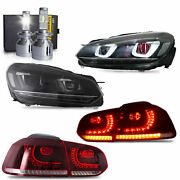 Free Shipping To Pr For Golf Mk6 Gti R Headlights+red Clear Taillights+d2s Bulbs