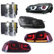 Free Shipping To Pr For 10-13 Golf Mk6 Gti R Headlights+taillights+d2s+h7 Bulb