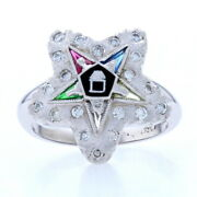 New Order Of The Eastern Star Ring - 14k Gold Synthetic Gems Masonic Dia. .30ctw