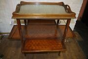 Antique Wood Marquetry Serving End Table On Wheels Swing Out Shelves Glass Tray