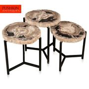 A Nest Of Three Petrified Wood Fossil Tables On Black Metal Bases