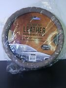 Brand New Genuine Beige Leather Car Steering Wheel Cover - Small Size Non Slip