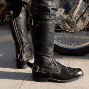 Menand039s Plus Size Motorcycle Buckle Biker Round Toe High Top Mid Calf Knight Boots