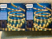 Lot Of 2 Christmas Philips 15 Ft Warm White Flat Rope Lights Indoor/outdoor Nib