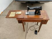 Singer 201-2 Straight Stitch Sewing Machine + Cabinet/desk Table Rare Complete