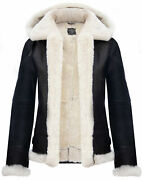 Black B3 Hooded Genuine Shearling Leather Jacket For Women Fur Collar Bomber Top