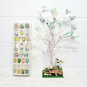 Easter Tree Decoration W/24 Wooden Easter Ornaments 18 45.7cm Tall Bendable -aa