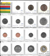 Mauritius Collection Of 15 Unc Coins 1 Cent - 20 Rupees 1971-2007 1t9