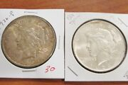 Lot Of 2 Silver Peace Dollars Us 1922 P 1924 P Coins 90 W8-p