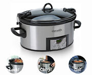 Crock-pot 6-quart Cook And Carry Programmable Slow Cooker With Digital Timer Steel