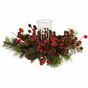 Holiday Candelabrum Candle Holder Jeweled Berries Nearly Natural Home Decoration