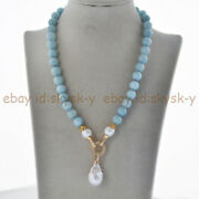 10mm Blue Aquamarine And White Natural Edison Baroque Pearl Pendant Necklace 18and039and039