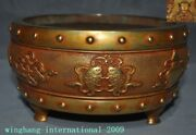 Chinese Palace Dynasty Temple Bronze 24k Gold 8 Treasures Incense Burner Censer