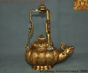 9chinese Dynasty Bronze 24k Gold Gilt Royal Beast Head Fish Wine Tea Pot Flagon