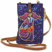 Laurel Burch Dog Papillon Pup And Butterfly Crossbody Phone Bag Lethr Strap 2021