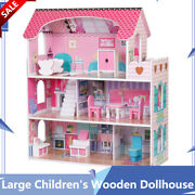 Large Childrenand039s Wooden Dollhouse Kids Play Barbie Funny House Birthday Gift New
